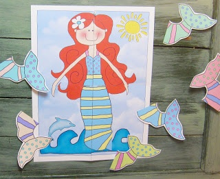 """""""Pin the Fin On The Mermaid"""" is a free downloadable version of """"Pin The Tail On The Donkey"""".  My kids loved it and it's perfect for a mermaid themed party."""