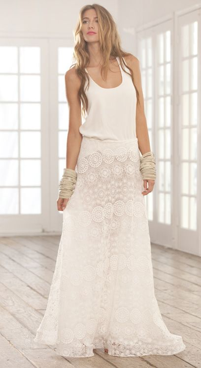 long lace skirt and tank
