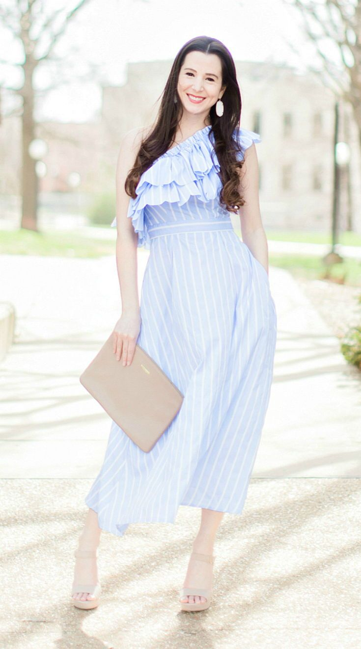 Love this romantic, blue striped one shoulder ruffle dress! Would make such a perfect and affordable bridesmaids dress, too! | spring wedding guest outfits | spring wedding guest dress ideas | dresses to wear to a spring wedding | Best Dresses to Wear to a Spring Wedding by southern fashion blogger Stephanie Ziajka from Diary of a Debutante