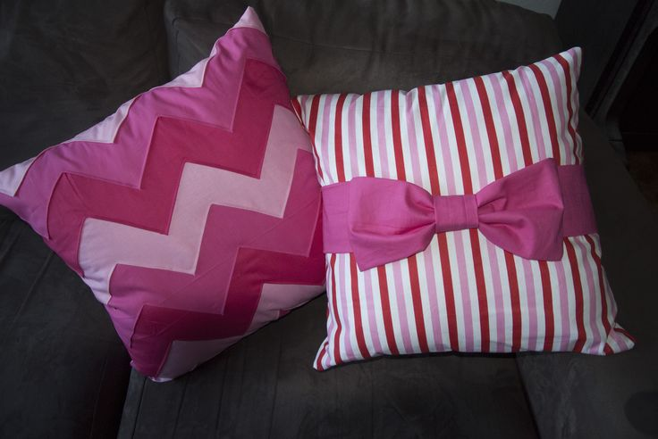 Pink Ombre Chevron Pillow and Striped Bow Pillow - Made these for mum last Christmas :) ~ Cat