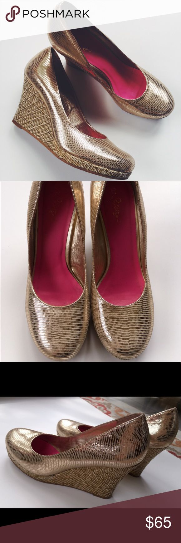 Lilly Pulitzer Resort Chic Gold Wedges The perfect shoe to spice up an outfit for going out or a special occasion. Lilly Pulitzer woven wedge heel with gold, metallic fabric. Almost like new condition with just a little sign of wear on heel. Heel is 4 inches high. Fast shipping 💕 Lilly Pulitzer Shoes Wedges