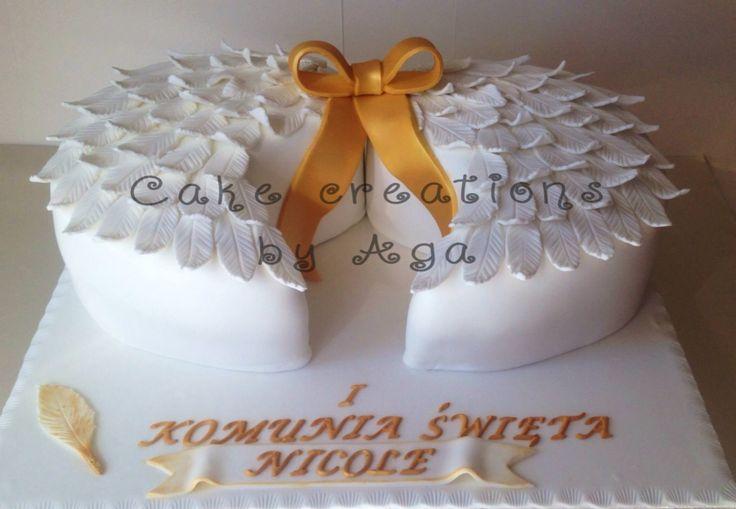 Angel wings communion cake/ skrzydła anioła tort komunijny.