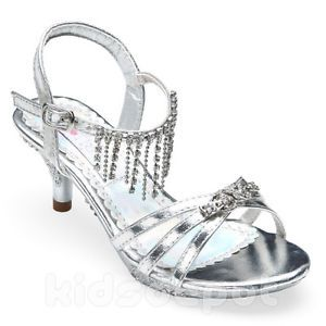 Girls Fancy Rhinestone Kids Dress Shoes Pageant Flower Formal Wedding Silver | eBay