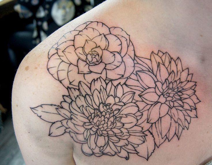Chronic Ink Tattoo - Toronto Tattoo Three flower outline tattoos done by Tegan.