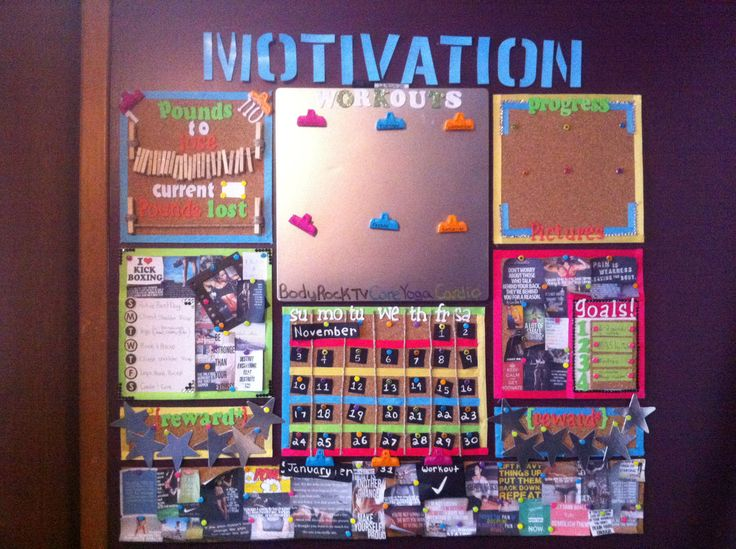 Great idea~ create a motivation board to help you reach your goals. I love this one! It's so organized and looks fun to use!