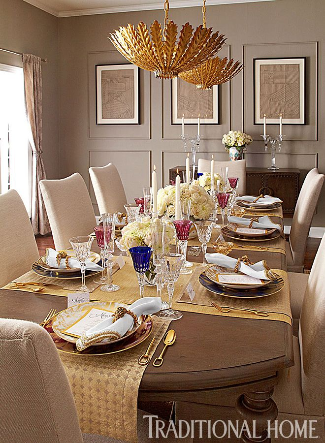 Metallic Tones Carry A Luxe Mood Through This Fashionable Dining Room