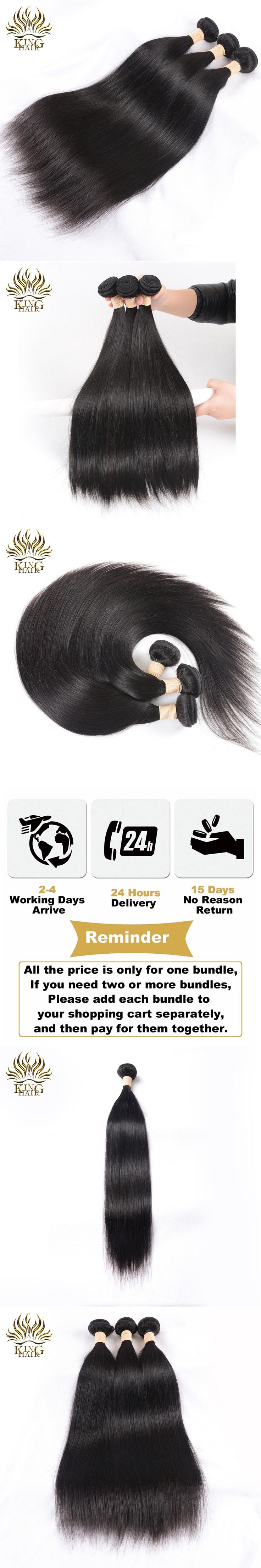 King Hair Peruvian Straight Hair Weave Bundles Natural Color 8-28inch 100% Human Hair Weave Remy Hair 1 pcs Machine Double Weft