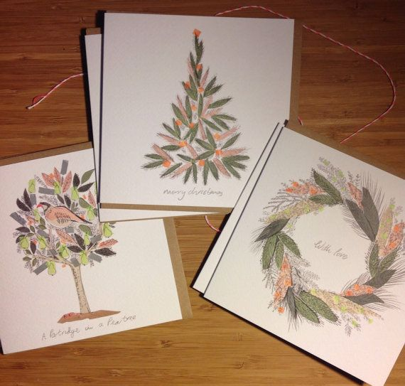 6 Christmas Cards by lizkingillustration on Etsy