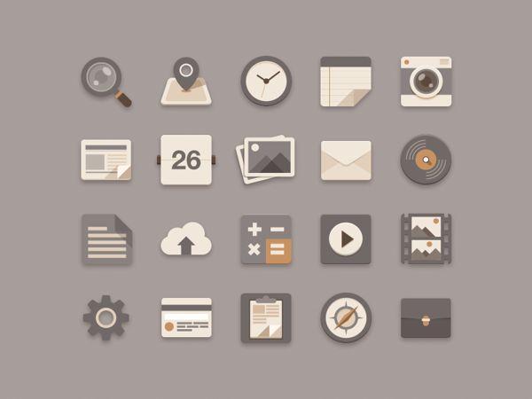 Flat Icons Brownie Theme by Sunbzy , via Behance