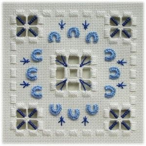 Fabric: 22ct Antique White Hardanger<br />Threads: DMC perle #5 & #8 & stranded cotton (White, 796, 809)<br />Other materials: Mill Hill beads (03061 Matte Periwinkle)