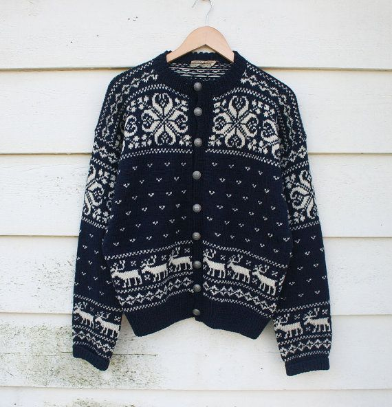 vtg 70's // nordic cardigan sweater // navy & white by foxandrook, $62.00