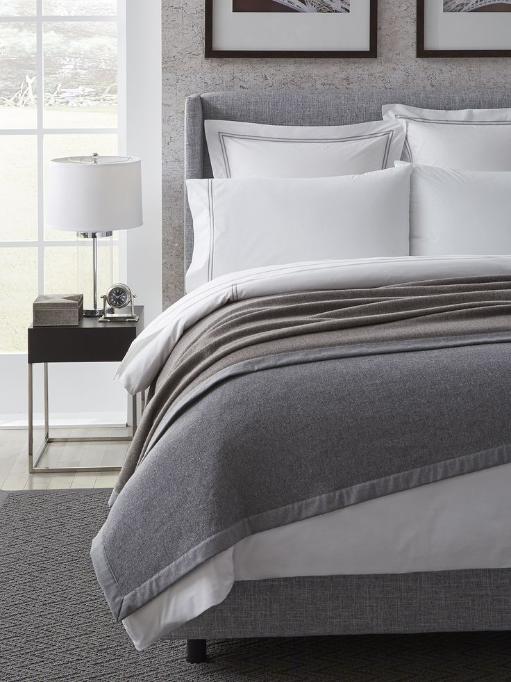 Our Nerino blanket, in superfine Merino wool, is double-faced in classic, menswear hues for a well-dressed room.