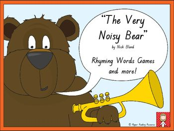 """Rhyming words game cards are included with four rhyming words game instructions for """"The Very Noisy Bear"""" by Nick Bland. This is a hands-on activity which is terrific for literacy rotations or fast finishers.Please note that you will need a copy of the picture book to make the best use of this resource.There are three different 'twists' in one of the rhyming words games using the sheep, zebra and lion cards for players to either lose their cards, miss a go or have another turn (it is up to…"""