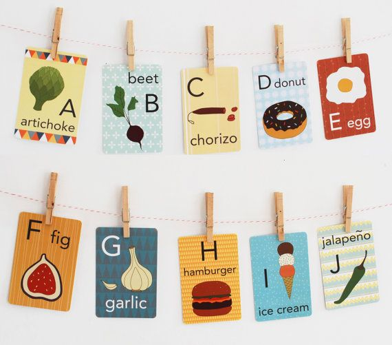 Food Alphabet Card Set, Nursery Wall Cards, Food Alphabet Flash Cards, Alphabet Fine Art Prints, ABC Cards