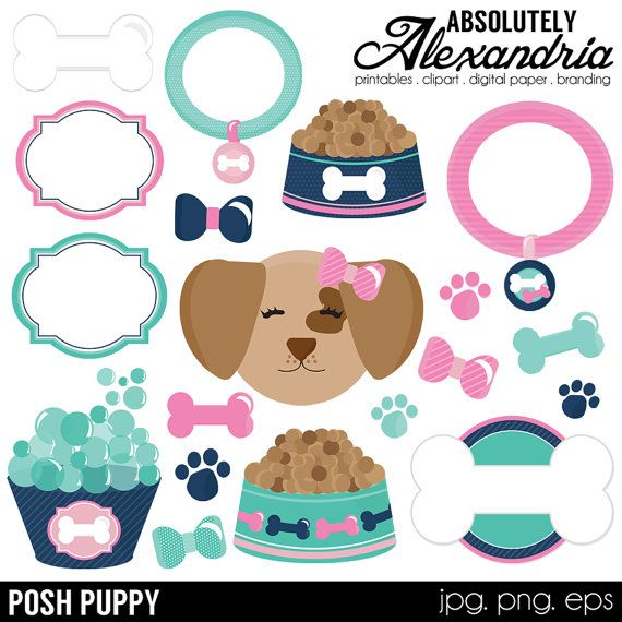 Posh Puppy Digital Clipart Personal & by AbsolutelyAlexandria