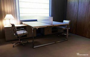 Projekt wnętrza pokoju biurowego z biurkami systemowymi i krzesłami Vitra. www.bartekwlodarczyk.com