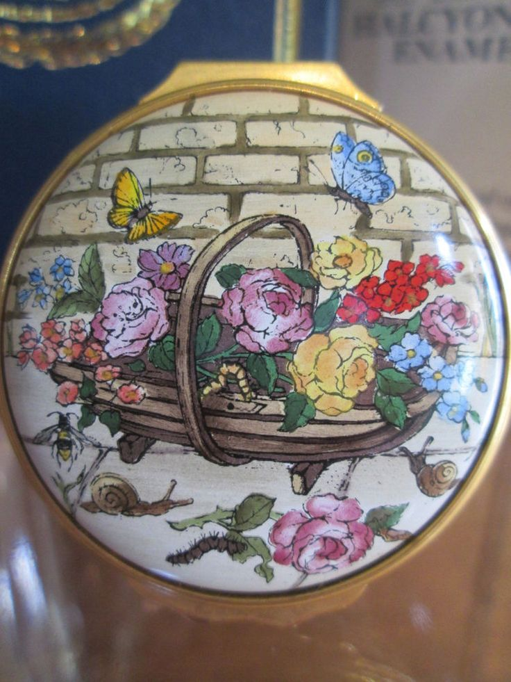 Halcyon Days Enamel Box, Voltaire, Candide, WE MUST CULTIVATE OUR GARDEN  #flowers #ebayrocteam