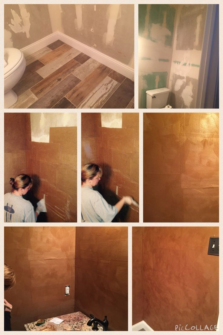 Brown paper bag walls- peeled off 2 layers of old wallpaper. Hung random squares/rectangles of brown contractor paper with kitchen and bath wallpaper glue. Glazed with a mix of mocha/gold.  Half bath project total hours= 40 or so!