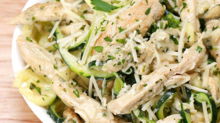 Zucchini Noodle Chicken Alfredo