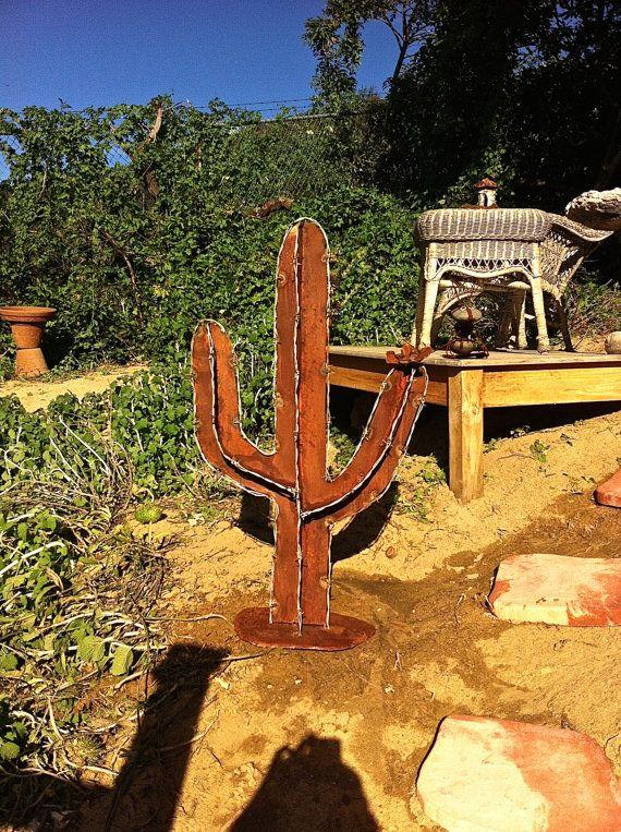 Barb Wire Cactus, Saguaro, Rustic Cactus, Metal Garden