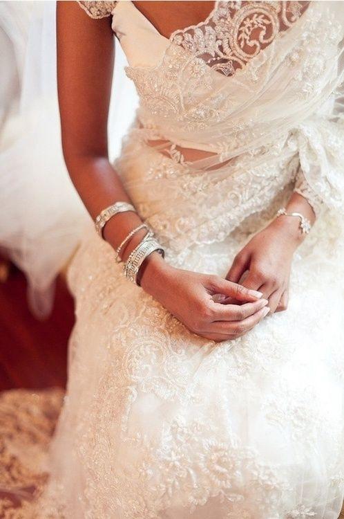 White wedding saree wedding nikkah pinterest saree for Sari inspired wedding dress