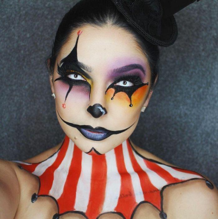 maquillaje halloween, maquillaje del joker para mujer con labios en negro y cuello pintado