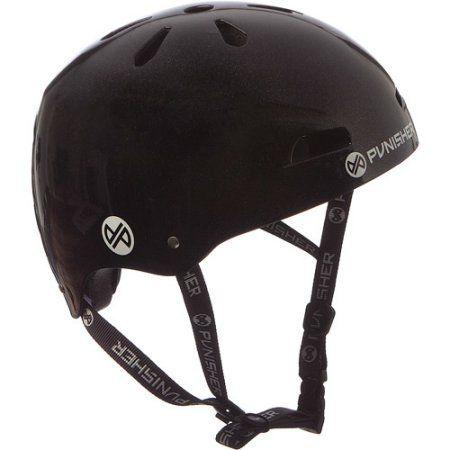 Punisher Skateboards Premium Youth 13-vent Metallic Flake Black Dual Safety Certified BMX Bike and Skateboard Helmet, Size Medium
