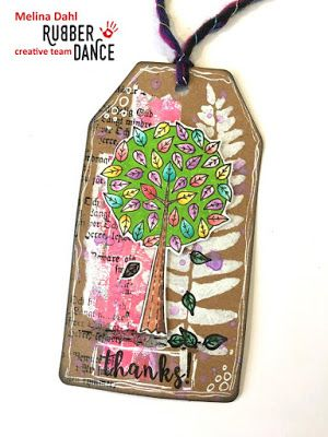 * Rubber Dance Blog *: Mixed Media Tag with Tree Stamp