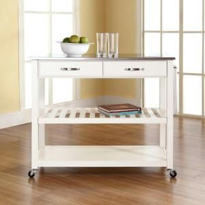 Crosley White Kitchen Cart With Stainless Steel Top KF30052WH at The Home Depot - Mobile