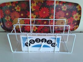 Vintage retro tray and milk bottle holder