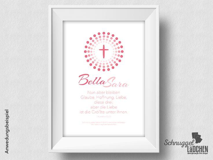 personalisierter Taufspruch – Kreuz rosa von Schnuggellaedchen auf DaWanda.com