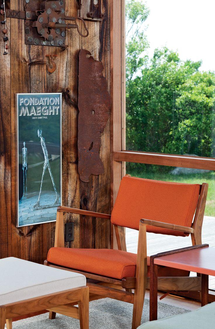 Deck amp patio furniture are often neglected when hiring a pressure - An Orange Chair And Cream Ottoman Of Risom S Design