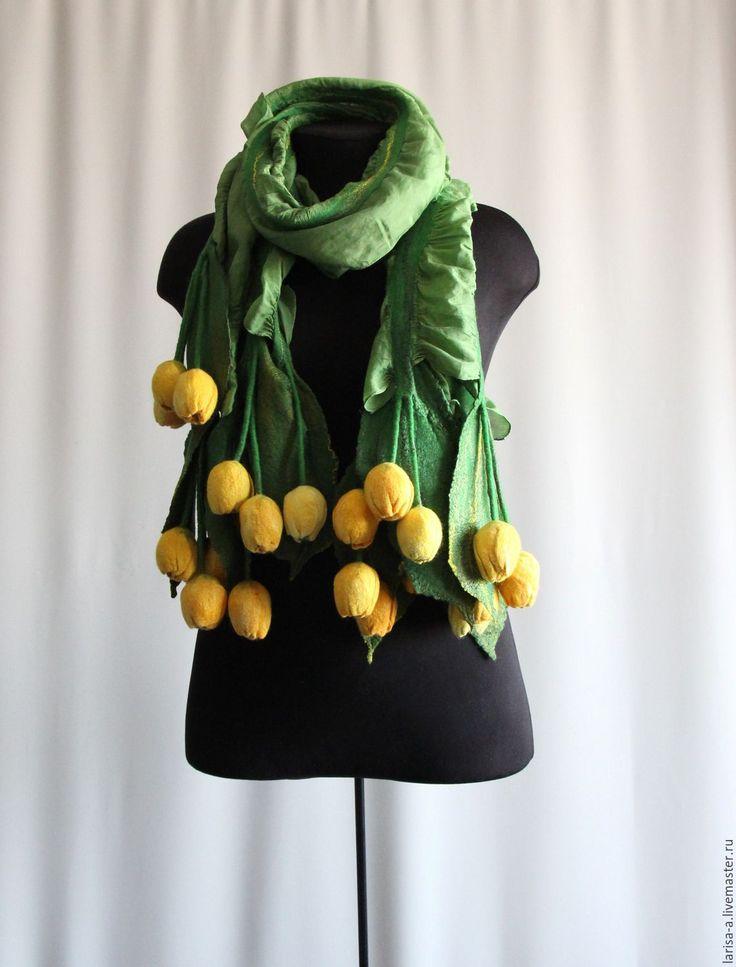 "Купить Валяный палантин ""Тюльпаны желтые"". - желтый, цветочный, палантин, аксессуары, валяный палантин, весна"