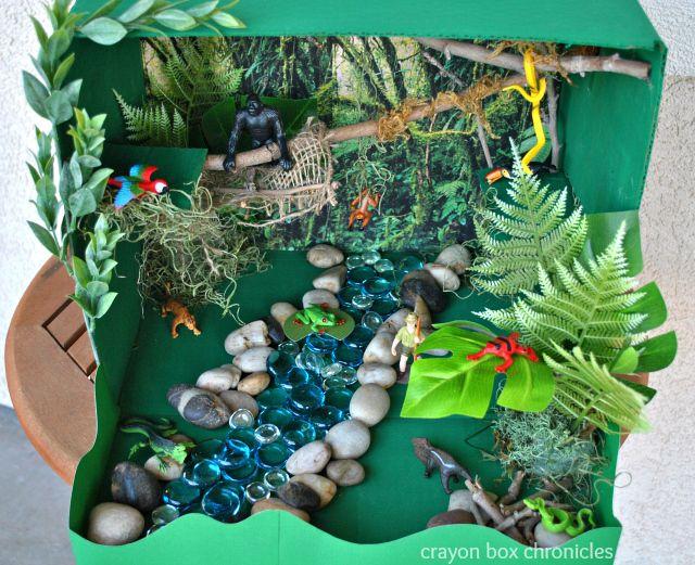 Miniature Amazon River Basin in a cardboard box. So cute and FUN!  #amazon #handson #homeschool
