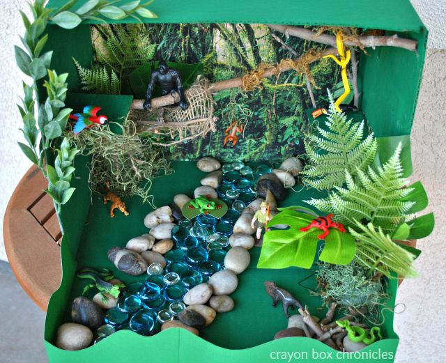 Miniature Amazon River Basin in a cardboard box. So cute and FUN!  #amazon #handson #homeschool