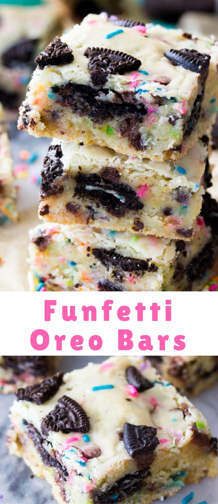 Soft, chewy, Funfetti Oreo Bars! These buttery cake batter flavored bars are jam-packed with mini chocolate chips, colorful sprinkles, and a center layer of Oreo cookies.