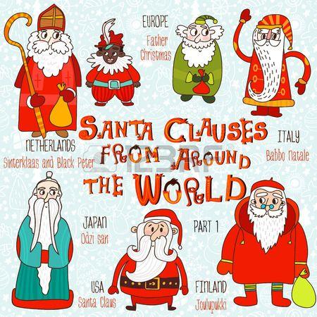 Рождественский набор - Деды Морозы со всего мира. Часть 1: Санта-Клаус, Йоулупукки, Odzi-сан, Babbo Натале, Дед Мороз и Синтерклаас