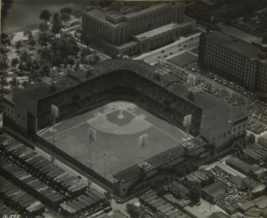 Aerial view of Shibe Park, later known as Connie Mack stadium, circa 1941. One-time home of the Philadelphia Athletic and the Philadelphia Phillies; Collection of the Historical Society of Pennsylvania