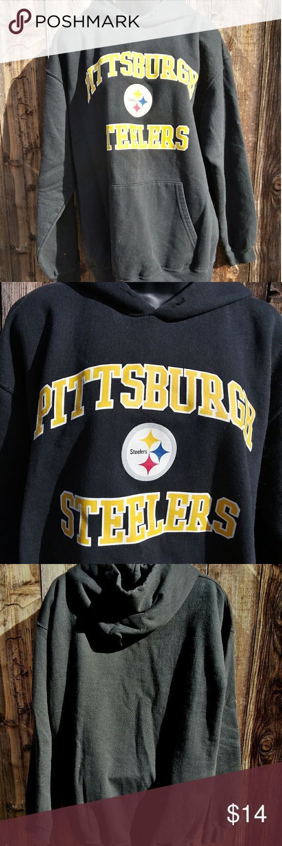 Pittsburgh Steelers hoodie Black Pittsburgh Steelers hoodie Pittsburgh Steelers with logo on chest kangaroo pocket size large unisex in good used condition.  Don't forget to bundle for a discount plus saves you on shipping! NFL Jackets & Coats