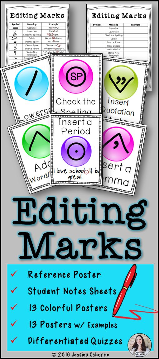 Editing Marks Posters, Notes, and Differentiated Quizzes