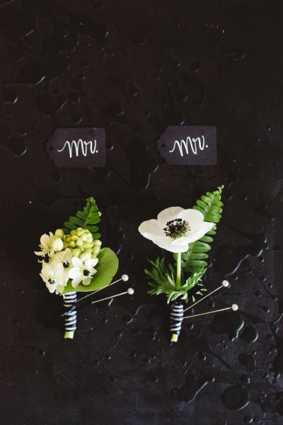 Boutonnieres: http://www.stylemepretty.com/canada-weddings/quebec/montreal/2015/05/12/modern-black-white-inspiration-shoot/ | Photography: Lisa Renault - http://www.lisarenault.com/