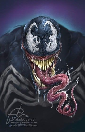dibujos de venom y hombre araña