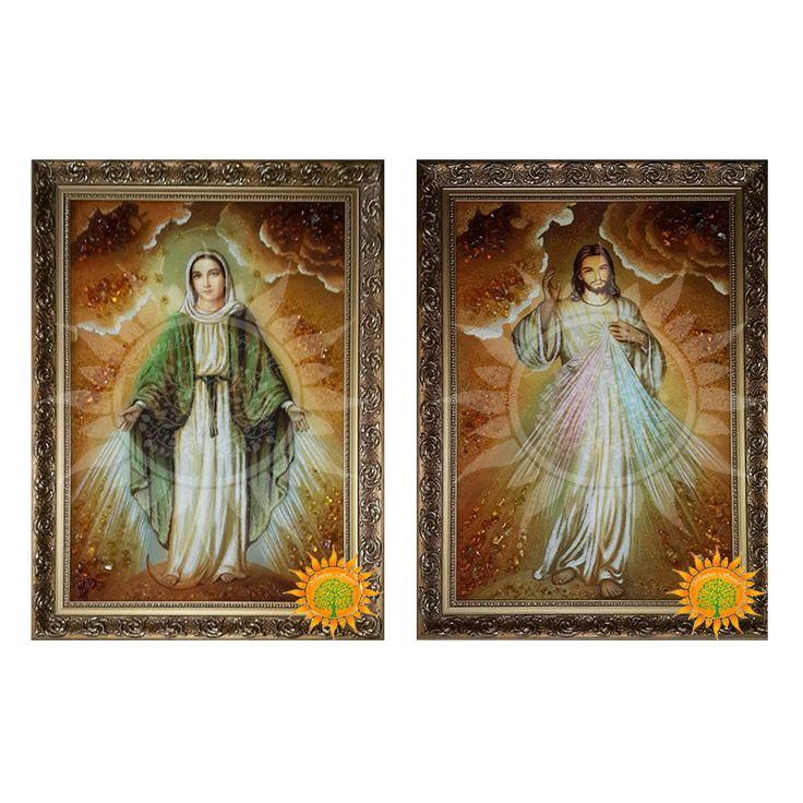 Икона Образ Иисуса Милосердного и Девы Марии - Amber stone