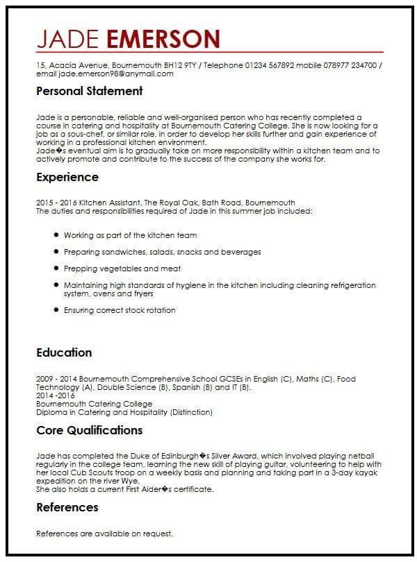 Cv Example For Teenagers Myperfectcv Good Resume Examples Job Resume Examples Cv Template
