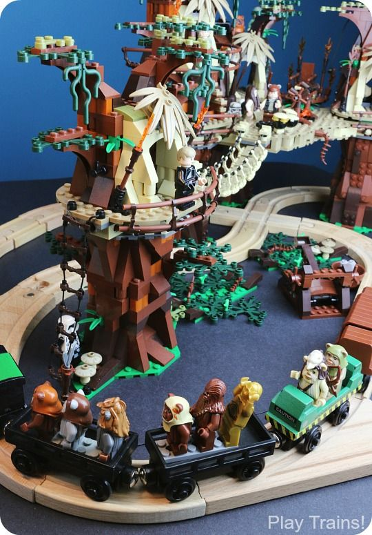 So going to do this with my boys!!! LEGO Ewok Village Wooden Train Layout from Play Trains!