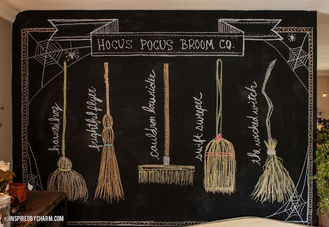 Ever changing chalkboard wall - now turned into the Hocus Pocus Broom Co. for Halloween.  The names of the brooms are a little tricky to read, but there is (from left to right) the Haunted Hog, Frightful Flyer, Cauldron Lowrider, Swift Sweeper, and The Wicked Witch broom with the bent & wonky handle.