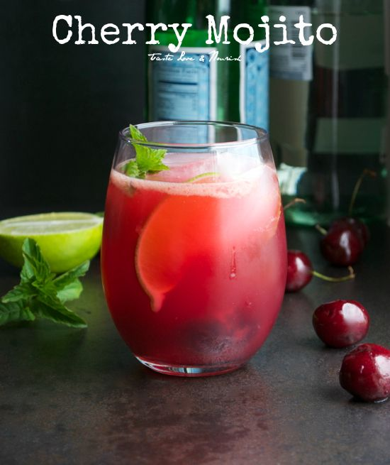 This mojito has just the right amount of sweetness and a pretty red color! From Taste Love & Nourish  #mojito #cocktail