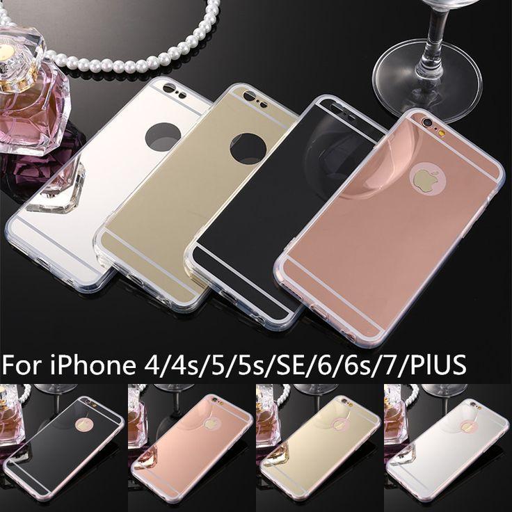 Luxury soft tpu para iphone 7 6 6 s plus se 5S 5 4S 4 Teléfono Móvil Bolsas de Caja Del Espejo de la Galjanoplastia PC Volver Fundas Cubierta de Coque