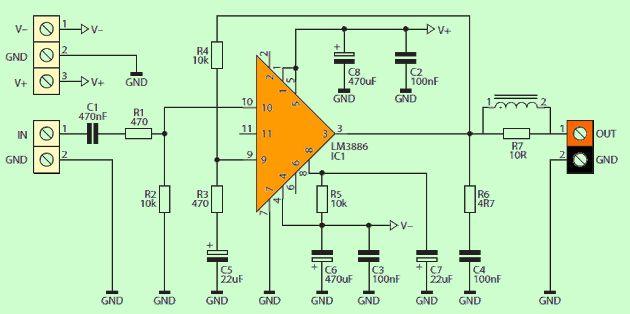 Lm3886 Amplifier Module Lm3886 Application Circuit
