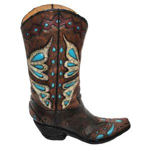 Turquoise Cowboy Boot Vase